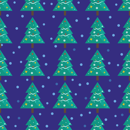 Seamless pattern for Merry Christmas greeting card with tree snow and snowflake . Illustration for presents, invitation, children interior design, scrapbooking.