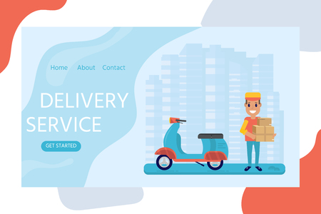 Delivery service concept for landing web page, mobile apps with smiling couriers with cardboard box and scooter. Horizontal web banner in flat design with shipping package. Vector illustration for website.