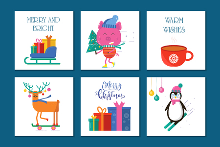 Merry Christmas 6 greeting card with cute animals: pig, penguin, reindeer,tree, sleigh and gift . Flat style of icons for presents, invitation,holiday interior design