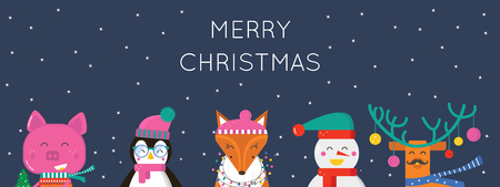 Merry Christmas greeting card with cute animals: pig, reindeer, penguin, fox and snowman . Flat style of icons for presents, invitation,holiday interior design Ilustrace