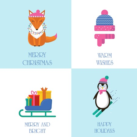 Merry Christmas greeting card with cute animals: penguin, fox and sleigh with gifts . Flat style of icons for presents, invitation,holiday interior design Ilustrace
