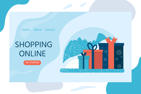 Christmas design for landing web page, mobile apps with presents, purchases. Horizontal web banner in flat design. Vector illustration concepts for website.