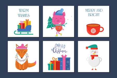 Merry Christmas 6 greeting card with cute animals: pig, fox and snowman with scarf and gift . Flat style of icons for presents, invitation,holiday interior design