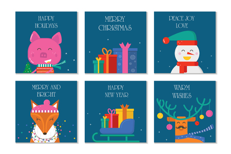 Merry Christmas 6 greeting card with cute animals: pig, reindeer, fox and snowman with scarf and gift . Flat style of icons for presents, invitation,holiday interior design Ilustrace