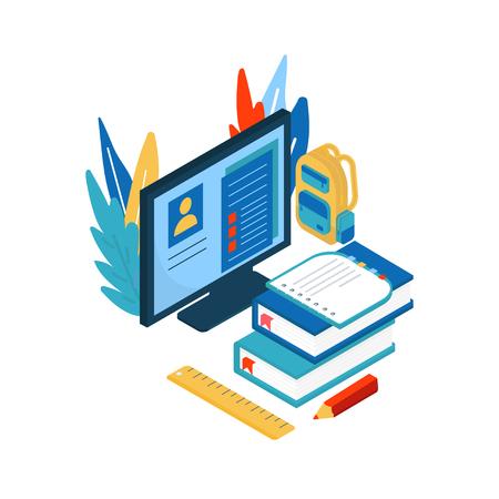 Concept d'éducation en ligne. Illustration isométrique avec livre et ordinateur pour cours de formation, tutoriels, conférences, spécialisation, enseignement, apprentissage des langues, études universitaires.