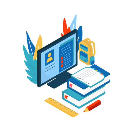 Online education concept. Isometric illustration with book and computer for training courses, tutorials, lectures, specialization, teaching, language learning, university studies.