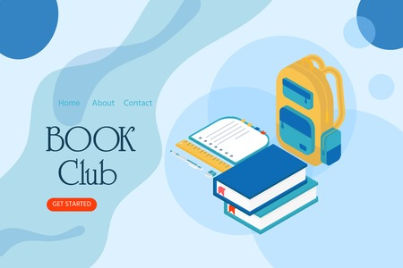 Book club inscription for invitation, promo , prints, flyer, cover and posters. Isometric book for training courses, tutorials, lectures, teaching, language learning, university studies.