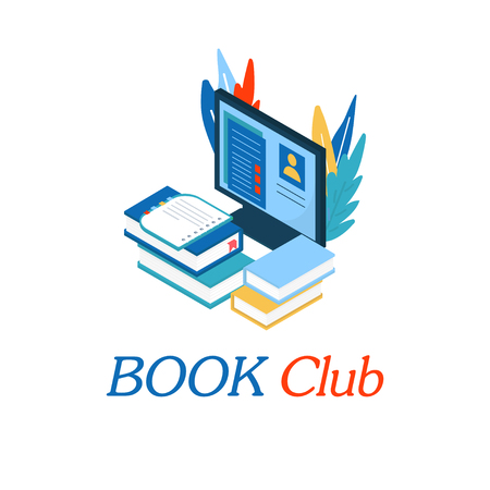 Book club inscription for invitation, promo , prints, flyer, cover and posters. Isometric book for training courses, tutorials, lectures, teaching, language learning, university studies. Vector