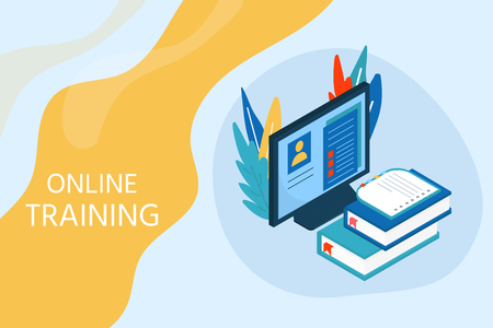 Online education concept. Isometric illustration with book and computer for training courses, tutorials, lectures, specialization, teaching, language learning, university studies.Vector