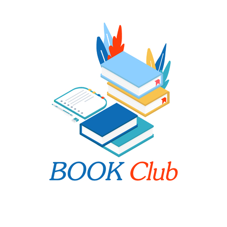 Book club inscription for invitation, promo , prints, flyer, cover and posters. Isometric book for training courses, tutorials, lectures, teaching, language learning university studies Vector Ilustrace