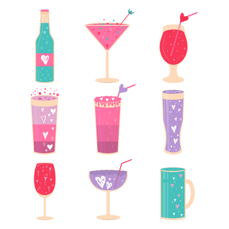 Lovely Valentines day icons with different glasses of wine, sweet cocktail and hearts . Stylish design for menu, prints, poster, invitation, party decoration. Vector.