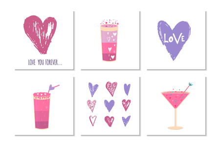 Lovely Valentines day gift card with different glasses of wine, sweet cocktail and hearts . Stylish design for menu, prints, poster, invitation, party decoration. Vector.