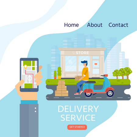 Delivery service concept for landing web page, mobile apps with smiling couriers, parcel. Horizontal web banner in flat design with shipping package. Vector illustration for website.