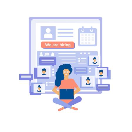 Concepto de contratación con personajes para redes sociales, documentos, contratación de empleados, banner web, infografías, página de destino. Ilustración para reclutamiento, recursos de reclutamiento, elección, investigación. Vector
