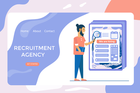 Recruitment agency, concept with characters for social media, documents, employee hiring, web banner, infographics, landing page. Illustration for recruiting, recruit resources, choice, research. Vector Illustration