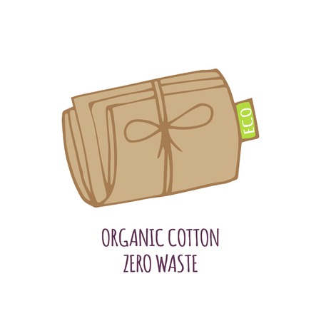 Hand drawn Zero waste concept set. No plastic elements of eco life: reusable paper, fabric cotton bags for food. Vector go green, bio or sign. Organic design template