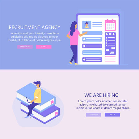 Agencia de contratación, concepto con personajes para redes sociales, documentos, contratación de empleados, banner web, infografías, página de destino. Ilustración para reclutamiento, recursos de reclutamiento, diseño, investigación. Vector