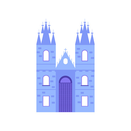 Old and famous Church of Our Lady. Czech architecture city symbol of Czech Republic. Travel banner. Vector illustration isolated on white background