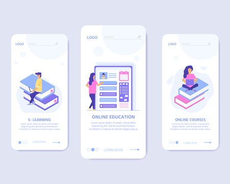 Online education concept. Isometric illustration with mobile template for app. People with book and computer for training courses, tutorials, lectures, specialization, teaching, language learning