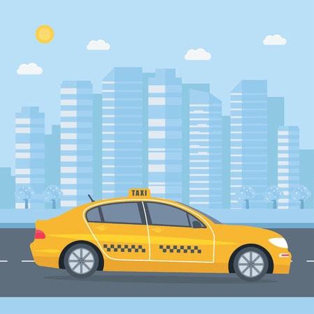 Poster with the machine yellow cab in the city. Public taxi service concept. Cityscape on the background. Flat vector illustration. Иллюстрация