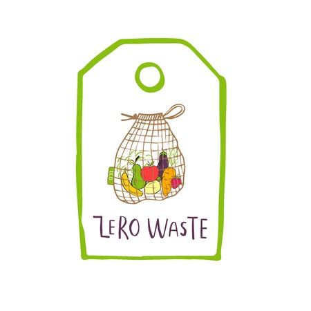 Hand drawn Zero waste logo or sign. Eco badge, tag for shopping, no plastic market, products packaging. Hand drawn leaves, branches, plant elements with lettering. Vector organic design template.
