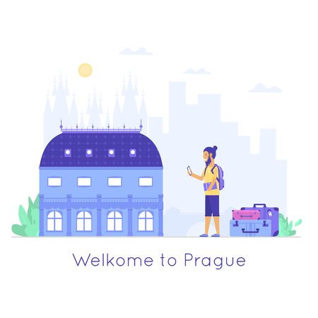 Young people with mobile, bag and baggage. Old and famous national theatre. Czech architecture city symbol of Czech Republic. Travel banner. Vector illustration isolated on white background