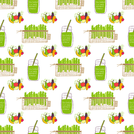 Seamless pattern. Hand drawn Zero waste vector design. No plastic elements of eco life: reusable fabric cotton bags with vegetables and fruits. Vector go green, bio logo or sign.