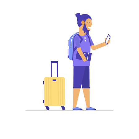 Young man, boy, hipster with travel bag and baggage going on summer vacation, journey or trip. Icons set of tourists in clothing of various style. Flat isolated vector illustration Vectores