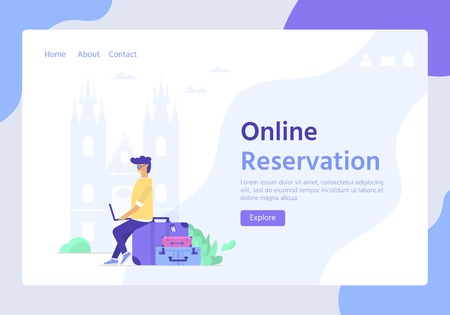 Young man with laptop and baggage. Travel and tourism concept for website template, online booking reservation, landing page, banner, flight tickets service. Vector illustration Illusztráció