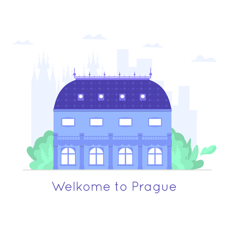 Old and famous national theatre. Czech architecture city symbol of Czech Republic. Travel banner. Vector illustration