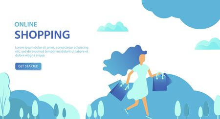 Landing page template for online Shopping with flat people characters and bags. Concept for website banner, mobile app templates, e commerce sales, digital marketing. Vector illustration Foto de archivo - 125319969