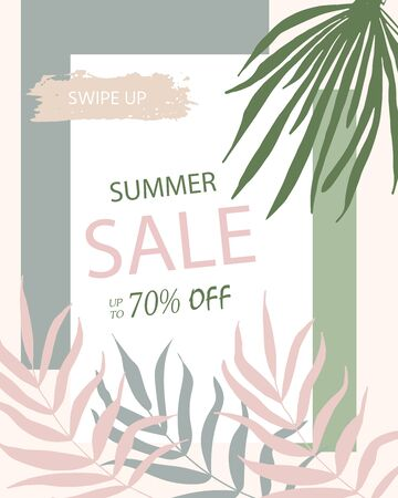 Summer discount cards with tropic palm design. Can be used for social media sale website, poster, flyer, email, newsletter, ads, promotional material. Mobile banner template.