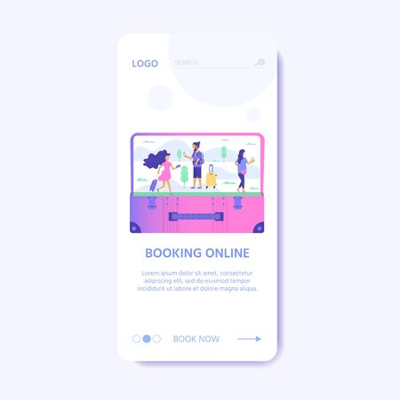 Set of baggage, laggage and young cute people. Travel and tourism concept for website user interface template, online booking reservation, landing page, banner, flight tickets service. Vector