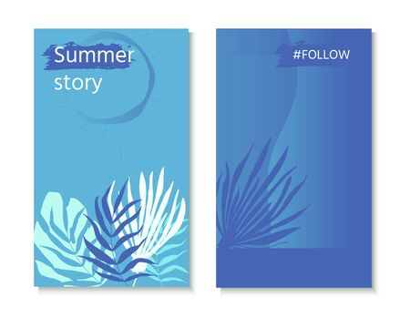 Vector set of social media stories design templates with palm leaves. Creative backgrounds for  banner, poster, web, landing, page, cover, ad, greeting card, promotion. Summer vacation concept