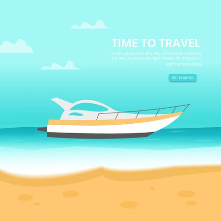 Design template for website with sea, ocean and nautical vehicles: sail boat, ship,  luxury yacht, speedboat. Creative flyer for beach summer holiday travel. Vector illustration.