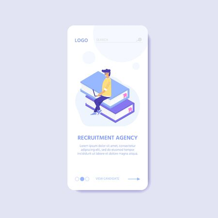 Recruitment agency, concept with characters for  documents, employee hiring, web banner, infographics, landing page. Illustration for recruiting, recruit resources, layout, research. Vector Illustration