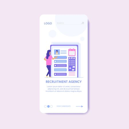 Recruitment agency, concept with characters for  documents, employee hiring, web banner, infographics, landing page. Illustration for recruiting, recruit resources, layout, research. Vector Ilustrace