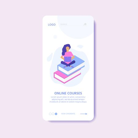 Online education concept. Isometric illustration with mobile template for app. People with book and computer for training courses, tutorials, lectures, teaching, language learning, university studies. Ilustrace