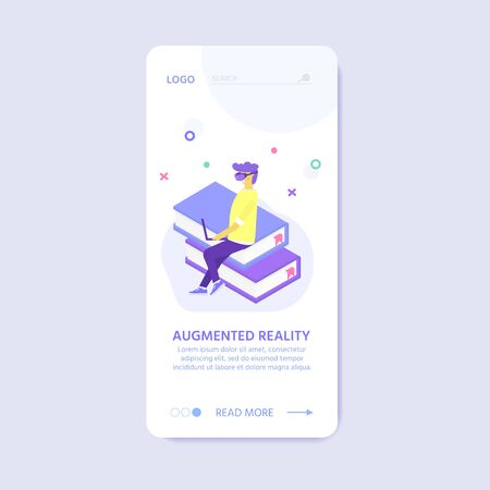 Virtual reality concept for landing page design with character of people wearing goggle headset, vr interface  with imaginary or virtual world. Vector VR glasses, helmet