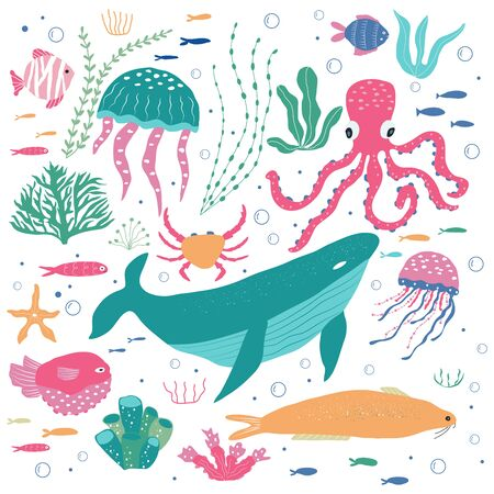 Underwater creatures octopus, whale, fish, jellyfish, crab, clownfish, seaplants and corals, set with marine animals for fabric, textile, wallpaper, nursery decor, prints, childish background. Vector