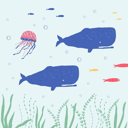 Underwater creatures octopus, whale, fish, seaplants and corals, set with marine animals for fabric, textile, wallpaper, nursery decor, prints, childish background. Vector Ilustrace