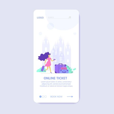 Young people with laptop, bag and baggage. Travel and tourism concept for website template, online booking reservation, landing page, banner, flight tickets service. Vector illustration