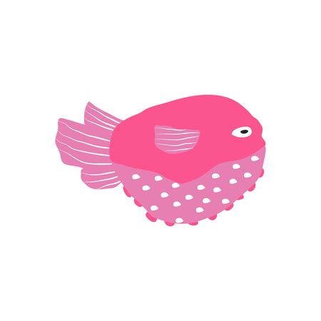 Underwater creature, pink fish isolated on white, marine animals for fabric, textile, wallpaper, nursery decor, prints, childish background. Vector Ilustrace