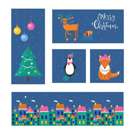 Set of cute Christmas gift cards with animals and lettering  Merry Christmas. merry and bright, warm wishes, magic moments. Easy editable template. Vector.
