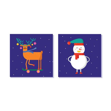 Set of cute Christmas gift cards with animals. Invitation for  Merry Christmas. merry and bright, warm wishes, magic moments. Easy editable template. Vector.