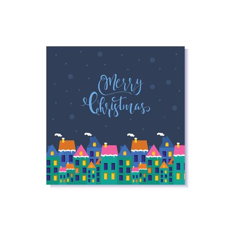 Cute Christmas gift card with houses . Invitation for  Merry Christmas. merry and bright, warm wishes, magic moments. Easy editable template. Vector.
