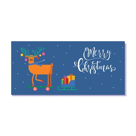 Cute Christmas gift card with animals. Invitation for  Merry Christmas. merry and bright, warm wishes, magic moments. Easy editable template. Vector. Ilustrace