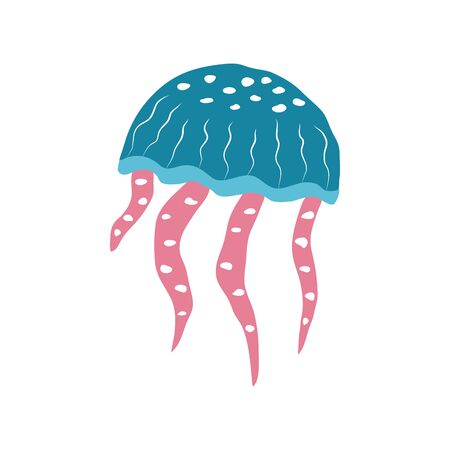 Underwater creature  jellyfish isolated on white,  marine animals for fabric, textile, wallpaper, nursery decor, prints, childish background. Vector Ilustrace