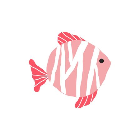 Underwater creature, red fish isolated on white, marine animals for fabric, textile, wallpaper, nursery decor, prints, childish background. Vector