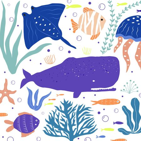 Underwater creatures octopus, whale, fish, jellyfish, clownfish, seaplants and corals, set with marine animals for fabric, textile, wallpaper, nursery decor, prints, childish background. Vector Ilustrace